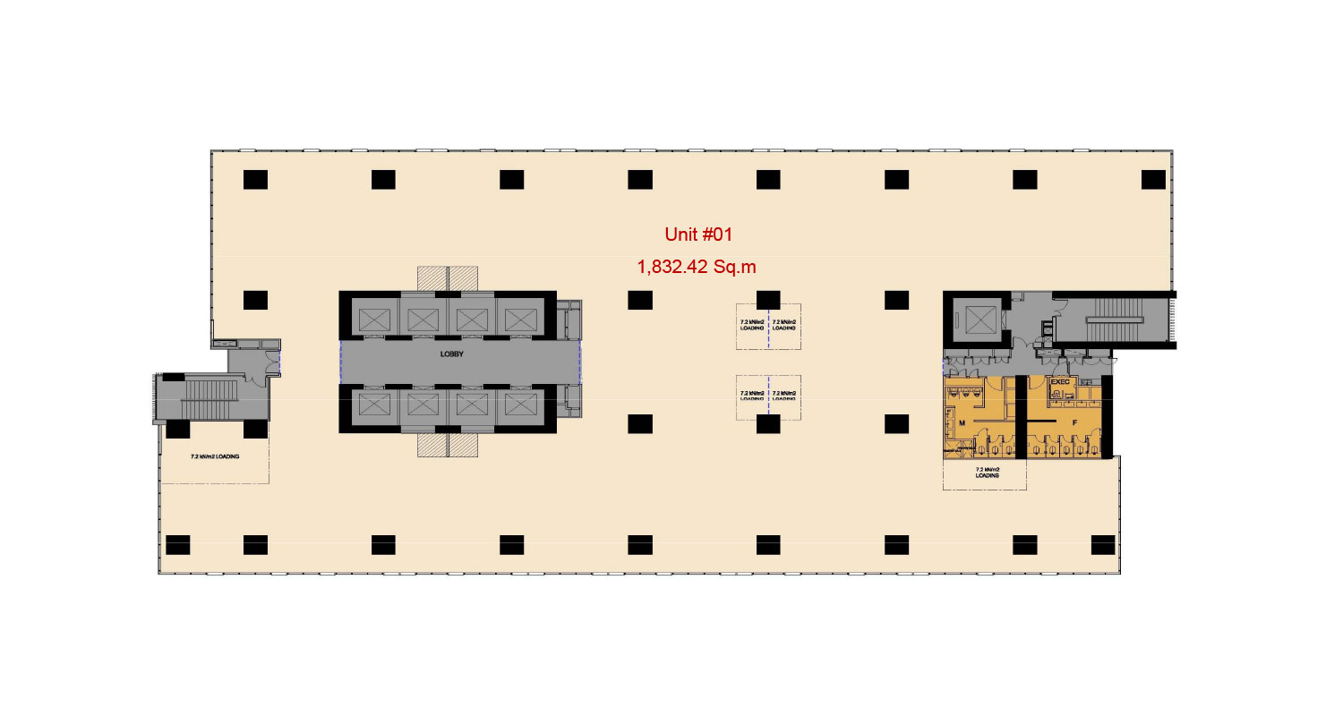 Floor plan grade a office in junction city yangon myanmar for Typical office floor plan